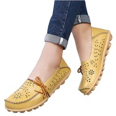 2002ff7e425e19 Breathable genuine leather shoes woman sneakers 2018 cut-outs footwear  loafers flats shoes female 13 colour tenis feminino