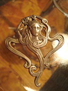 Art Nouveau Goddess Pendant Sterling