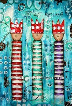 If you saw my post yesterday then you will know how much I love the story of Three Wise Men. Yesterday I shared with you the Stampotique version in my art journal, but here is the painted version! I L