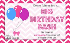 Little LDS Ideas: {Giveaway} Big Birthday Bash Giveaway #2 from Latter-Day Chatter#comment-form