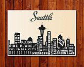 Seattle Skyline Poster. Typography Poster Print. City of Seattle Art Print. 12 x 18. $30.00, via Etsy.