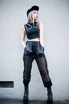 Ennui: Collared Crop Top, Collar Harness, Permafrost pants, Boyle Platform and Viking Cap - by Essy N. Get inspired for this May with these 20 Grunge Outfit Ideas Grunge Outfits, Neue Outfits, Fashion Outfits, Womens Fashion, Ootd Fashion, Japanese Street Fashion, Tokyo Fashion, Harajuku Fashion, Kawaii Fashion