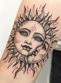 awesome sun & moon tattoo © tattoo artist Sandra 💖☀️🌙 💖 ☀️🌙 💖 tattoo ideen 50 Meaningful and Beautiful Sun and Moon Tattoos Moon Sun Tattoo, Sun Tattoos, Dope Tattoos, Nature Tattoos, Pretty Tattoos, Unique Tattoos, Beautiful Tattoos, Body Art Tattoos, Small Tattoos