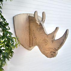 Rhino Trophy Head Kids Wall Decor Rustic Rhinoceros Head Jungle Safari  via Etsy.