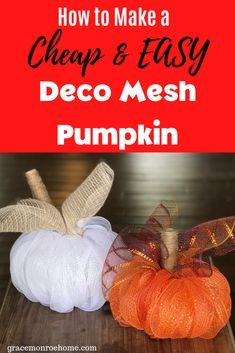 How To Make a Deco Mesh Pumpkin - - Fall leaves, hoodies, and pumpkin spice lattes will be here before you know it, and we have a fun DIY project that is going to be such a cute addition to your fall decor. Deco Mesh Bows, Deco Mesh Crafts, Deco Mesh Garland, Fall Mesh Wreaths, Fall Deco Mesh, Halloween Deco Mesh, Christmas Mesh Wreaths, Wreath Crafts, Deco Mesh Wreaths