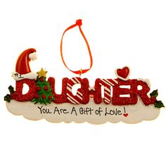 #1 Daughter Red Glittered Christmas Ornament