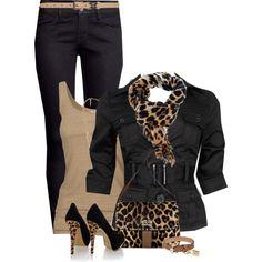 my black pants, beige tank top, black short sleeve jacket with belt, animal print scarf and black shoes and beige belt