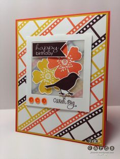 Stampin' Up!, Paper Players 171, Morning Meadow, A Dozen Thoughts, Banner Greetings, Filmstrip, Squares Collection Framelits, Pansy Punch, Vellum Card Stock