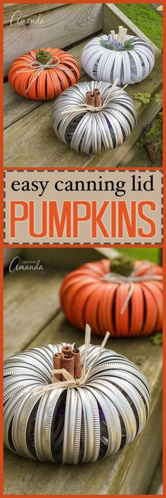 Surely you've seen the mason jar lid pumpkins on the web the last few years. Making a pumpkin out of canning lids is easy and there are several variations.