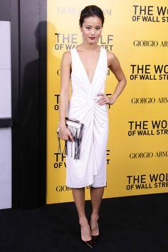 Jamie Chung in white low plunge v-neckline cocktail dress by Cushnie et Ochs