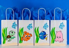 Buscando a Nemo - búsqueda de Dory - encontrar Nemo cumpleaños - búsqueda de cumpleaños de Dory - encontrar Nemo fiesta bolsas - encontrar bolsos de fiesta de San Pedro - juego de 12