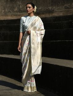 Buy Ivory Handwoven Benarasi Silk Saree Online at Jaypore.com