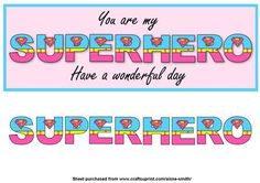 A fun word card that can be used for a number of occasions with additional letters for a effect. Alternatively size down your print and create bookmarks. You Are My Superhero, Supergirl, Cool Words, Bookmarks, Superman, Aqua, Card Making, Wonder Woman, Letters