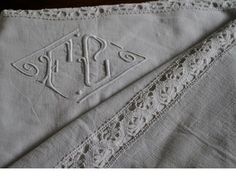 Exqusite antique French linen sheet monogram by hand FC Bourdon point. $215.00, via Etsy.