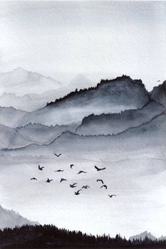 Saatchi Art: Mountain flock Painting by Katryn Bowe Watercolor Art, Art Painting, Abstract Expressionism Art, Painting, Art, Original Landscape Painting, Monochrome Painting, Minimalist Watercolor, Watercolor Art Paintings