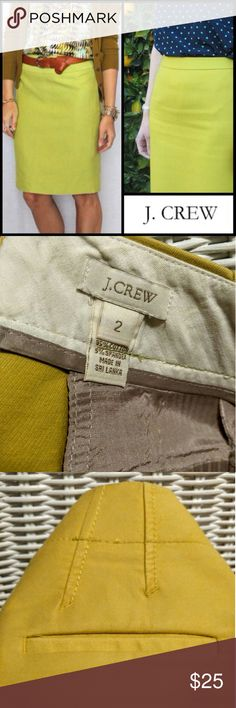 J Crew Chartreuse midlength skirt size 2 Perfect for a splash of color at work! New - worn once! J. Crew Skirts Pencil