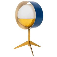 Stilux Milano Brass and Glass Tripod 'Saturn' Table Lamp ca.1950's