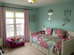 Harper's finished room! Paint is tame teal by Sherwin-Williams and bedding is Pottery Barn teen called ocean bloom.