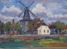 View on Noorderhogebrug, Groningen, Johan Dijkstra Art Eras, Dutch Painters, Adult Crafts, Le Moulin, Delft, Vincent Van Gogh, Netherlands, Fun Art, Photo Art