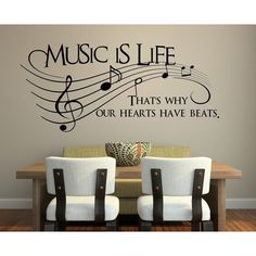 Music Is Life That's Why Our Hearts Have Beats Vinyl Wall Decal... ($14) ❤ liked on Polyvore featuring home, home decor, wall art, music home decor, vinyl wall stickers, heart wall decals, music themed wall art and heart home decor