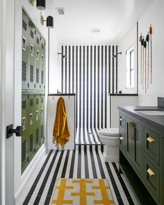 """Rue on Instagram: """"The stripes, the sconces, the LOCKERS?? This kids' bath by @shopskout, featured in the summer issue of @ruemagazine, couldn't be cooler.…"""" Locker Room Bathroom, Bathroom Kids, Kids Bath, Bathroom Black, Laundry Room, Guest Bathrooms, Home Decor Shops, Tile Design, Locker Storage"""
