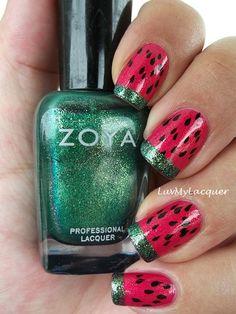 Cute Nails - Fruit inspired mani feat Zoya Nail Polish in Kimber and Ivanka! Fancy Nails, Love Nails, Diy Nails, How To Do Nails, Pretty Nails, Shellac Nails, Garra, Watermelon Nail Art, Cute Nail Designs