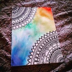 Para el estrés!  Zentangle - Mandala Art #zentangle #Mandala #art #rainbow #watercolors #sharpie #acuarelas
