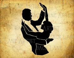 Vintage Dancing Couple Silhouette Clipart by BackLaneArtist