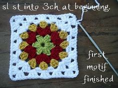 Live colors-Grandma All Square@Ashley Wolverton, This is the first thing my grandmother taught me how to crochet. It is so easy. Then hook them together for the afgan. Like the one she made for you! Or you can make one big one too, you just keep going around.