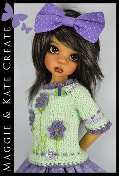 """OOAK Mint & Lavender Outfit for Kaye Wiggs 18"""" MSD BJD by Maggie & Kate Create"""