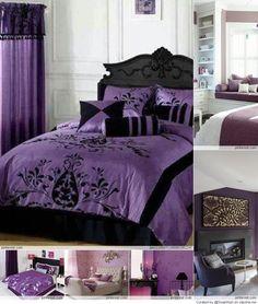 Decorating Bedroom In Purple Ideas Jpg Black Comforter