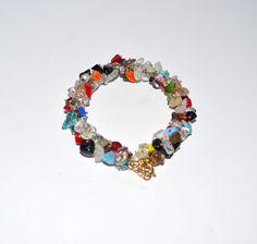 Multi-color beaded bracelet with natural mix gemstones, healing  yoga bracelet #Handmade #Statement