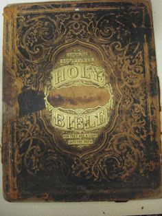 ANTIQUE Holy Bible Book Cover Tooled Leather Gold Gilt by MOJEART, $48.00