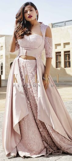 Lilac pink lehenga in embroidered net with cut dana and moti work all over. Matched with off shoulder blouse with half sleeve. Indian Fashion Dresses, Indian Gowns Dresses, Dress Indian Style, Indian Designer Outfits, Designer Dresses, Designer Lehanga, Stylish Dress Designs, Stylish Dresses, Elegant Dresses