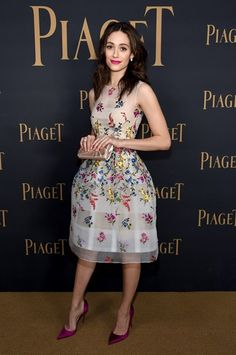 Pin for Later: 55 Photos That Prove Bride-to-Be Emmy Rossum Was Born in the Wrong Decade When We Couldn't Stop Staring at This Floral-Embellished Fit-and-Flare Star Fashion, Look Fashion, Fashion Trends, Celebrity Red Carpet, Celebrity Style, Fit And Flare, Nice Dresses, Summer Dresses, Emmy Rossum