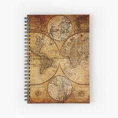 'Old vintage world's map' Spiral Notebook by ModernFaces Journal Design, Notebook Design, Map Design, Sell Your Art, Spiral, Vintage World Maps, My Arts, Art Prints, Retro