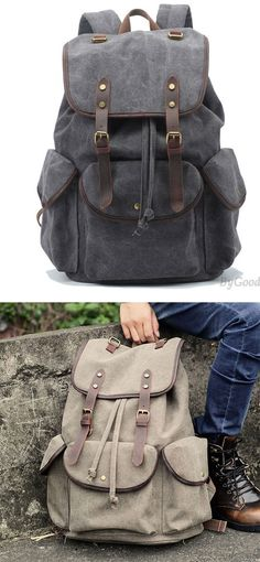 Retro Leather Strap Rucksack Thick Canvas Large Travel College Backpack for  big sale!  backpack 04363e4daa