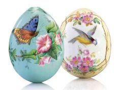 TWO IMPERIAL PORCELAIN EGGS BY THE IMPERIAL PORCELAIN FACTORY, ST PETERSBURG, CIRCA 1850-1860