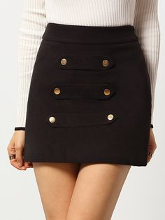 To find out about the Black Slim Buttons Woolen Skirt at SHEIN, part of our latest Skirts ready to shop online today! A Line Skirts, Short Skirts, Mini Skirts, Asymmetrical Skirt, Dressed To Kill, Rock, Skirt Fashion, My Wardrobe, Diy Clothes