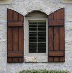 37 Trendy Ideas for exterior wood shutters landscaping Wooden Shutters Exterior, Outside Shutters, White Exterior Houses, Cedar Shutters, House Shutters, Diy Shutters, Exterior Stairs, Exterior Cladding, House Paint Exterior