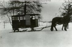 Schoolbus sleigh, South Winn, Maine,1925. My mother remembered going to school in something similar in MA.