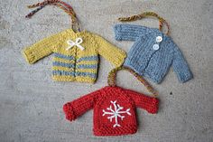 The Tiny Top-Down Pullover and Cardigan pattern makes the perfect quick-knit gift or ornament for any time of year. The pattern has both the sweater and cardigan instructions written out to keep things simple. Striping, embroidery, cute buttons could all be added!