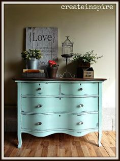 When I found this dresser the finish was in really bad shape and all the original pulls were missing. But, I absolutely loved the serpentine front and couldn't… Upcycled Furniture Before And After, Repurposed Furniture, Vintage Furniture, Painted Furniture, Refinished Furniture, Distressed Furniture, French Furniture, Vintage Decor, Furniture Styles