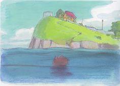 Ponyo's first glimpse of Sosuke's house from Ponyo (2008) Color Keys http://livlily.blogspot.hu/2012/04/artworks-of-hayao-miyazaki-films.html