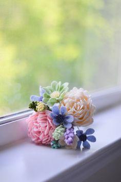 Войлок букет / пион, ромашка, и Уайлдфлауэр / навсегда Цветы