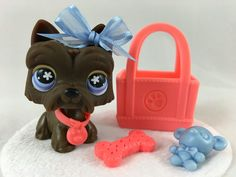 Littlest Pet Shop Cute Brown Scottie Dog #789 w/Shopping Bag & Accessories #Hasbro