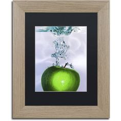 Trademark Fine Art Apple Splash II Canvas Art by Roderick Stevens Black Matte, Birch Frame, Size: 11 x 14, Multicolor