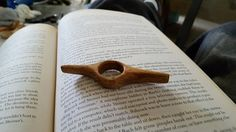 Handcarved Wood Book Holdopen by recreatedstudio on Etsy
