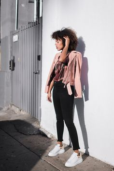 Pink Leather Jacket OOTD - Designer's Remix jacket with Madewell plaid bow tie top and skinny jeans. Alexander McQueen white sneakers from Luisa Via Roma. #stylemegrasie #fashion #styleblogger