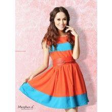 Color Block Chiffon Mini Dress